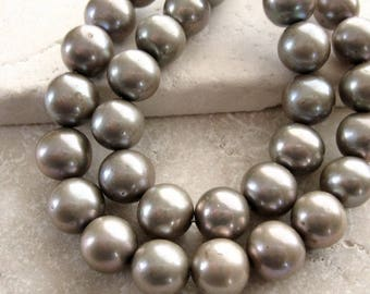 Pewter Pearls 9.5mm - Half Strand 8 inches