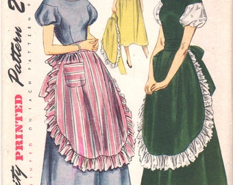 1940s Simplicity 3055 Junior Misses DRESS and APRON Pattern  Drop Shoulder Flared Skirt Womens Vintage Sewing Pattern  Size 15 Bust 33 UNCUT