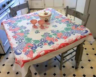 Vintage Tablecloth Fruit & Floral Grapes Pineapple Hydrangea