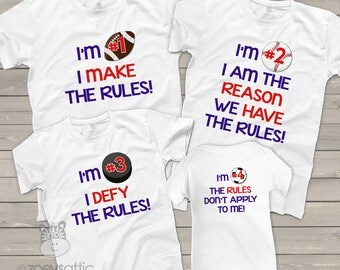 Rules sibling shirt set of four any brother sister combination matching tshirts - RULES