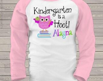 Back to school shirt - kindergarten is a hoot - 1st grade or any grade back to school kids raglan shirt mscl-090-r