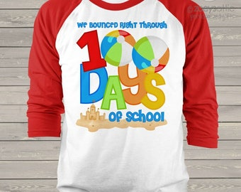 Teacher shirt - 100 Days of school - beach themed beach balls sand castle one hundred day raglan shirt for teachers    mscl-113-r