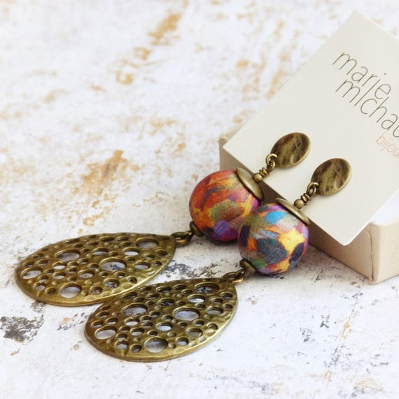 Statement earrings, Boho earrings, Hippie chic earrings, Drop shape earrings, Long earrings,Statement jewelry,Boho jewelry,Free shipping