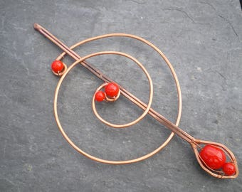 Hammered Copper Hair Spiral Bun Cover Vintage Red Glass Bead