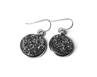 Silver druzy dangle earrings - Hypoallergenic pure titanium, stainless steel and acrylic druzy jewelry