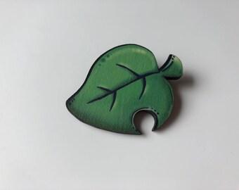 Animal Crossing Pocket Camp Leaf Brooch- Laser Cut Wood Brooch