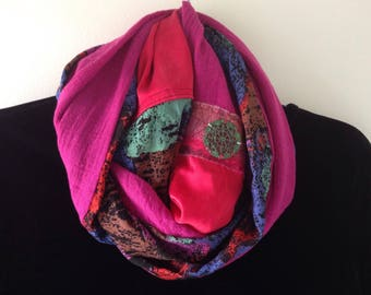 Women's scarf with medallion, long fiber art in cotton silk, deep pink red blue green brown black, Bohemian Lhasa i992 clearance sale