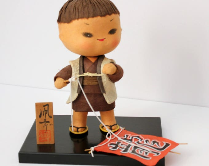 Vintage Japanese Boy with Mini Kite Doll, Japan Kite Flying Figure on Stand with Sign