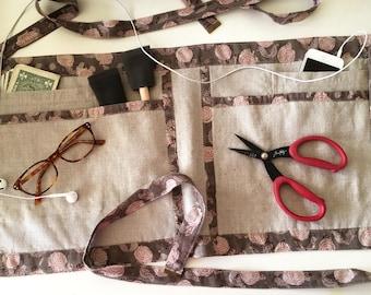 Women's Utility Apron - Linen Half Apron - Gardening, Crafting, Sewing, - Wedding Planner - Craft Vendor Apron - Medium Large