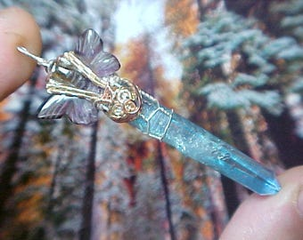 Carved Butterfly Agape Crystal Lemurian Aqua Aura Goddess Crystal Sterling Pendant Reviewing Releasing Limitations AWP506
