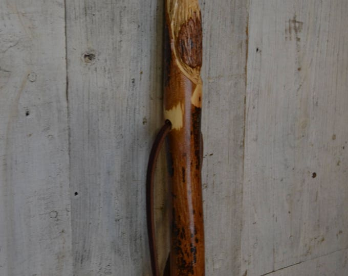 "Walking Stick with Wood Spirit Carving, 60"" Handcarved Woodspirit Hiking Stick, Hand-carved Mountain Man, Made in the USA, #1664"
