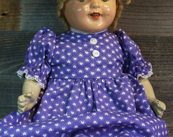 Reserved for Melinda- Antique COMPOSITE DOLL with Stuffed Body- Purple Dress- Girl Doll Vintage Doll- Sleepy Eyes- Composition Doll