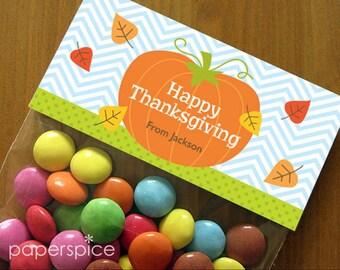 Personalized Thanksgiving Treat Bag Toppers – DIY Printable – Pumpkin (Digital File)