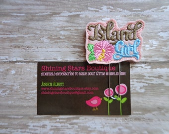 Tropical Planner Clips - Brown & Turquoise Blue Island Girl With A Pink Hibiscus Flower Felt Summer Paperclip Or Bookmark - Hawaiian Flowers