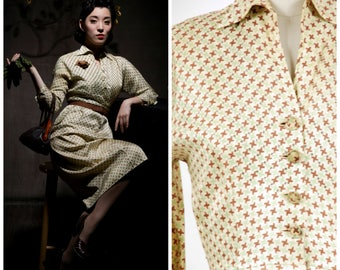 Vintage 1950s Dress - Autumn 2017 Lookbook - The Braeburn Day Dress - Silky Printed 50s Day Dress with Studded Rhinestones and Navy Collar