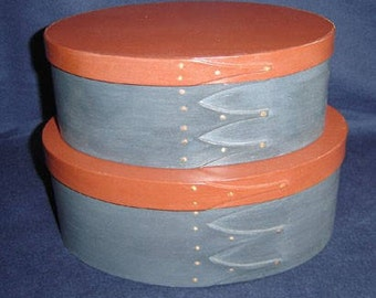 No. 4 and 5 Cherry Painted Shaker Box Set of 2