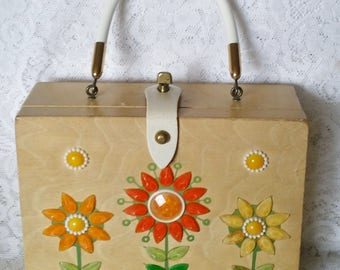 Enid Collins, Wooden Box Handbag, Flower Power, Orange, Yellow and Green Flowers, Vintage Purse