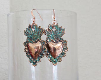 Med. Copper Patina SACRED HEART Intricate Milagro Earrings- Perfect gift for the one you love