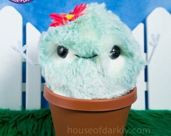 Cuddy Cactus plush potted plant with flower Style B