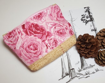 Zipper Pouch, pink rose, tan print, gusset bottom carry-all, travel pouch, Organizer pouch for cosmetics, phone, or electronic cords