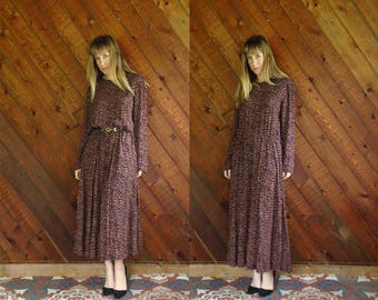 Cheetah Printed l/s Woven Maxi Dress - Vintage 80s - L