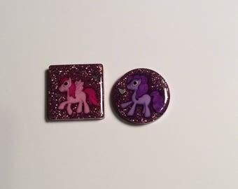 Glitter ponies magnet set