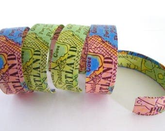 """Portland Maine cuff- 3/4""""- gift boxed - vintage graphics"""
