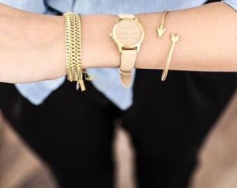 25 mm Watch in Oak and Nude, Classic Women's Wrist Watch, Wooden Wrist Watch, Nude Leather Strap, Gold Women's Watch, Gold Wrist Watch