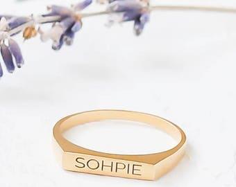 Custom Engraved Signet Ring, Personalized Signet ring, Monogram Signet Ring, Personalized Name Ring, Rectangular Signet Ring, Initial Ring