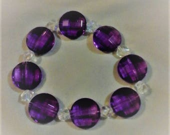 purple and clear crystal bracelet