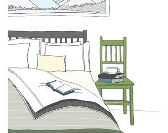 Cozy Bedroom in Winter illustration print