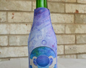 Aquarius Beverage Insulator - Bottle Cover - Zodiac Wedding Favor - Drink Insulator - Bottle Insulator - Bottle Hugger - Soda Bottle Cover