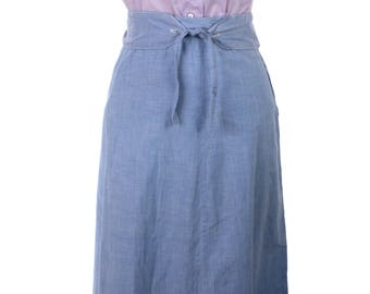 Blue Cotton Vintage Flare Skirt - 1950s Metal Zip & Unusual Belt - Sz XL - Hey Viv