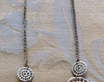 "ON SALE Gold tone Filigree Circle Bib Necklace, Vintage, 17""-19-1/2"""