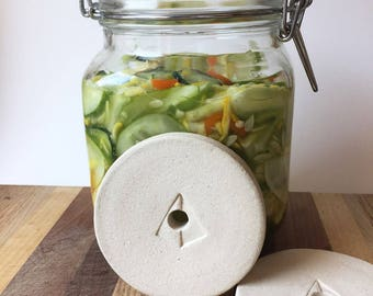 X-Large Ceramic Fermentation Weight - Pickling Weight for Fido Style Jars - Mason Jar Weight - 3""