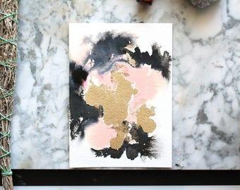 "original abstract painting ""Swin"" by Jules Tillman. 5""x7"" small original art. black, gold and pink art. Modern, minimal watercolor wall art"