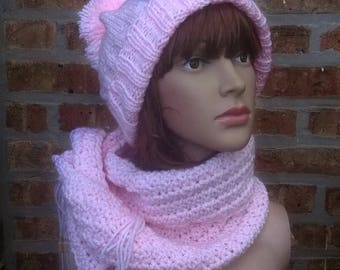 Knit Scarf, Hand Knit Scarf, Pink Scarf, Long Scarf, Texture Scarf, Winter Scarf, Mens Scarf, Womens Scarf, Crochet Scarf, Handmade Scarf