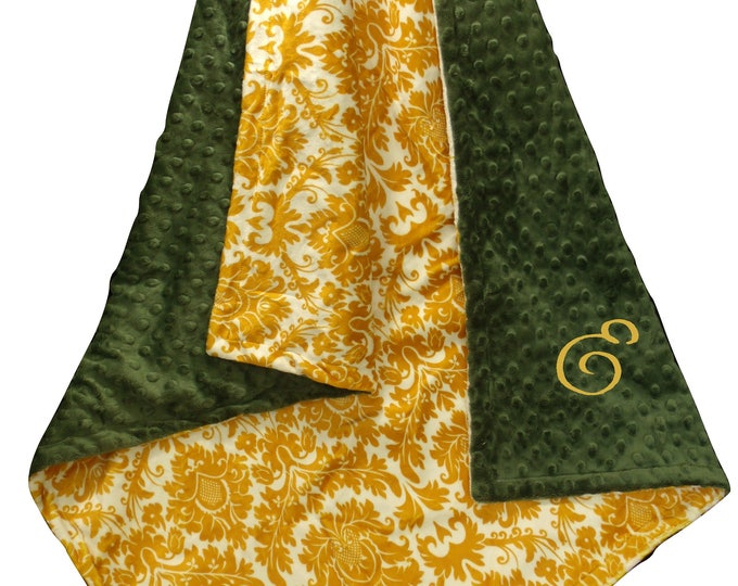 Hunter Green and Gold Minky Blanket, Can Be Personalized