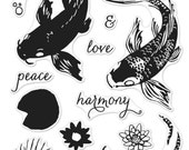 Color Layering Koi stamp set with peace love harmony and more