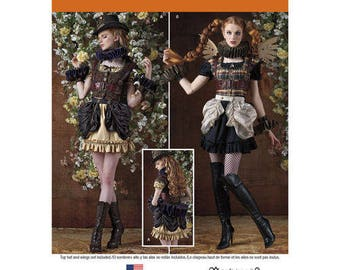 Arkivestry Steampunk Lolita Pattern Bustle Bodice Harness Ruff Cuffs Mini Dress Cosplay Costume Size 6 8 10 12 14 Simplicity 8075 UNCUT