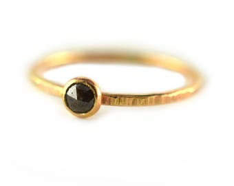 Black Diamond Ring, Rough Diamond Ring, April Birthstone Ring, Size 6.5 - 6.75
