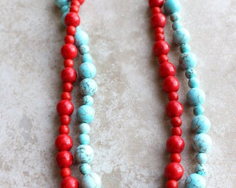 Turquoise and Red Necklace, Southwestern Style Necklace, Chunky Necklace, Aqua and Red Necklace, Sundance Style, Toggle Clasp