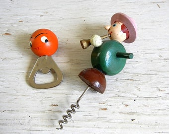 Vintage Barware | Figural Corkscrew Bottle Opener | Wooden Figures | Anthropomorphic Kitsch Barware | Musician Funny Face
