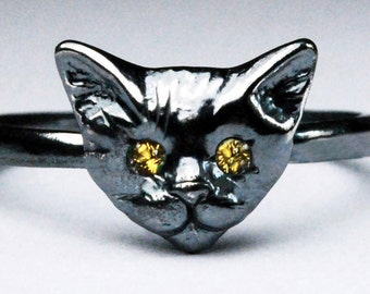 Black Sterling Silver Kitty Cat Ring with Citrine or Yellow Sapphire Eyes