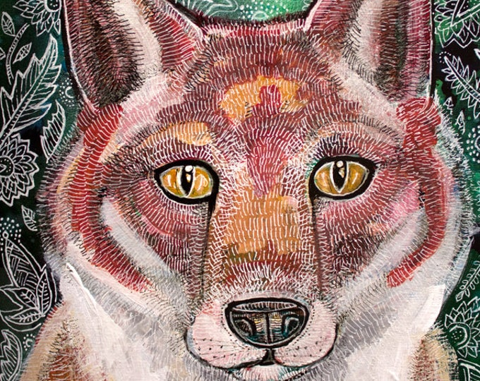 Original Red Fox Painting by Artist Lynnette Shelley