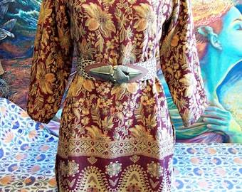 Tapestry Dress, Autumn Tunic, Woven, Fringed Dress, Long sleeve dress, size M/L