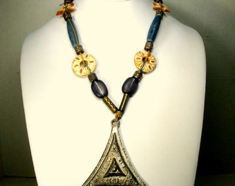 RESERVED Carla, Triangle Pendant w Beads on Tan Suede Leather Necklace, Oxbone, Metal and Glass, Tribal Boho Style