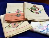Handmade Vintage Hand/Tea Towels, Cross-stitched, Embroidered Linen/Flax & Cotton, 4 Colorful Mid Century Towels