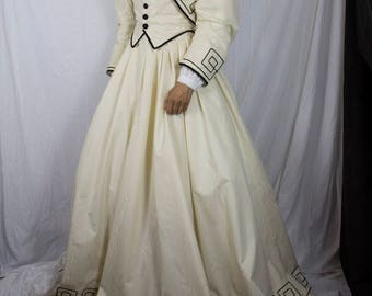 Reproduction Civil War Dress Gown Costume Black and Cream