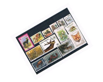 Woodland Animal Stamps | Fox, Deer, Stag, Hare, Squirrel - world wildlife postage stamp thematics | crafting, collage, upcycling, decoupage